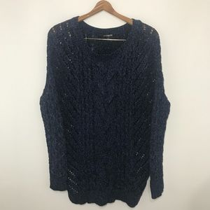 Express Blue and Black Cable Sweater